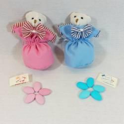 Sacchetti portaconfetti bomboniere Battesimo con orsetti Rock celeste e rosa