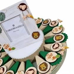 Torta bomboniere animali savana magnete in legno