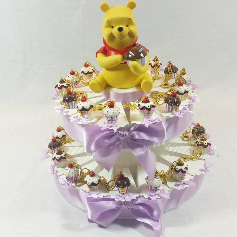 Torta bomboniera cupcake portachiavi winnie the pooh
