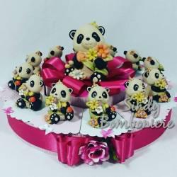 TORTA BOMBONIERE Panda per NASCITA e BATTESIMO-COMUNIONE-CRESIMA  bambina