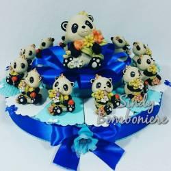TORTA BOMBONIERE Panda per NASCITA e BATTESIMO-COMUNIONE-CRESIMA  maschietto