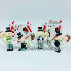 MORENA bomboniere confezionate con confetti biglietto ROSA BIANCA clip porta messaggio FOTO idea regalo evento matrimonio