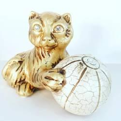 GATTO con palla Swarovski Ceramica Valle d'Oro Parchi IDEE REGALO CASA confezione Complementi d'Arredo MADE IN ITALY Offerta