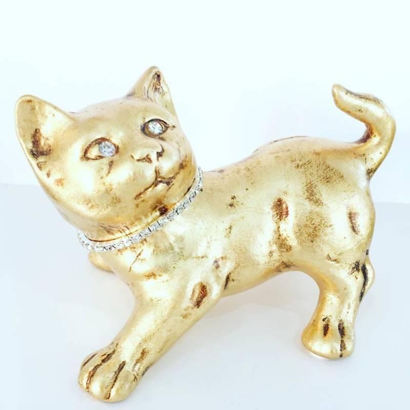 Gatto collare in swarovski ceramica valle d 39 oro parchi for Arte casa complementi d arredo