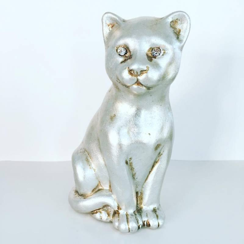 Gatto con occhi in swarovski ceramica valle d 39 oro parchi for Arte casa complementi d arredo