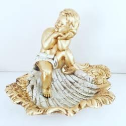 Putto ANGELO acquasanteria Oro Ceramica Valle d'Oro Parchi IDEE REGALO CASA confezione Complementi d'Arredo MADE IN ITALY