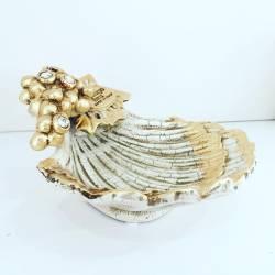 Conchiglia Oro uva swarovski Ceramica Valle d'Oro Parchi IDEE REGALO CASA confezione Complementi d'Arredo MADE IN ITALY