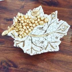 Foglia Oro uva swarovski Ceramica Valle d'Oro Parchi IDEE REGALO CASA confezione Complementi d'Arredo MADE IN ITALY