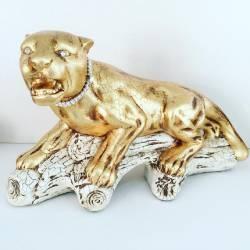 TIGRE su tronco collare in Swarovski Ceramica Valle d'Oro Parchi IDEE REGALO CASA confezione Complementi d'Arredo MADE IN ITALY