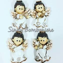 FAI DA TE BOMBONIERE appoggio ANGELI bianchi argento angioletti PER NASCITA BATTESIMO baby compleanno