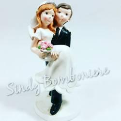 FAI DA TE BOMBONIERE TOPPER per torta SPOSI marito moglie IN BRACCIO matrimonio anniversario CENTRALE no confetti