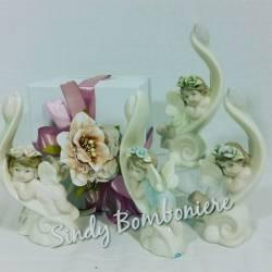 Bomboniere Angelo su foglia Porcellana per Battesimo Prima Comunione Cresima Angioletti