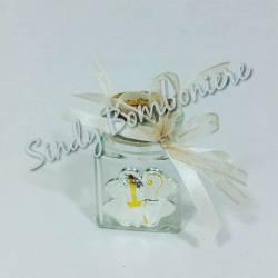 BOMBONIERE Cresima fai da te offerta icona laminato argento vasetto barattolo vetro