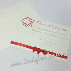 INVITO Bigliettino per la tua LAUREA festa inviti Biglietto busta GRAFICA in Omaggio Nastro Personalizzato Coccinella