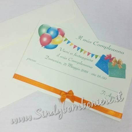 INVITI Biglietto per Compleanno festa inviti con busta GRAFICA in Omaggio Nastro Personalizzata Party