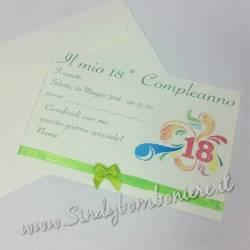 INVITO PER DICIOTESSIMO Compleanno 18° biglietto festa inviti con busta GRAFICA in Omaggio Nastro Personalizzata Party