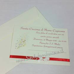 INVITI PER Santa Cresima bigliettino invito con busta GRAFICA in Omaggio Nastro Personalizzato Sacramenti