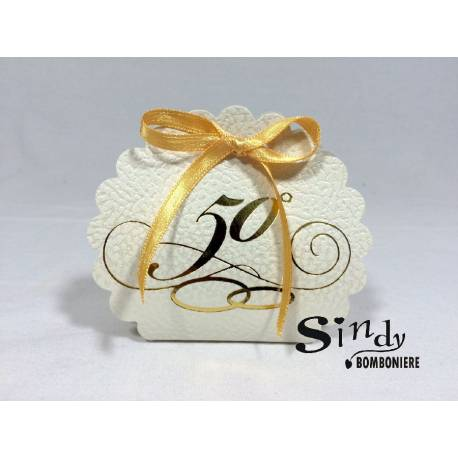 BOMBONIERE FAI DA TE  Portaconfetti in cartoncino Borsa Rotonda 50° anniversario matrimonio 2PEZZI 1€ 14548
