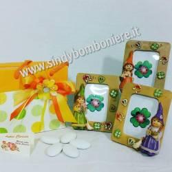 Cornice Portafoto Bambina ELFA THALIA in resina Gnomi con confezione bigliettino confetti per Battesimo Compleanno Comunione