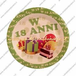 KIT 18 anni Coordinato PIATTI-BICCHIERI, Tovaglioli BANDIERINE FESTONE Diciottesimo Compleanno