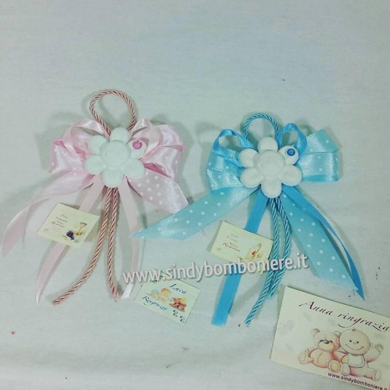 Bomboniera Matrimonio Azzurro : Bomboniere segnaposto fiorellino rosa azzurro bambino