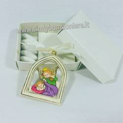 Bomboniere fai da te Appendino ANGELO e Bambino con cornice  con scatola e plexiglas senza confetti