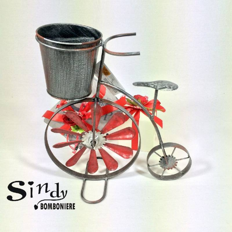 Portafiori bicicletta ferro battuto regalo bomboniera for Complementi d arredo ferro battuto