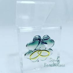 FAI DA TE BOMBONIERA cubo plexiglass ANNIVERSARIO 25° nozze argento idea regalo no confetti no confezione