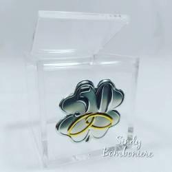 FAI DA TE BOMBONIERA cubo plexiglass NOZZE ORO 50° anniversario matrimonio scatolina no confetti o confezione