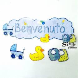 """FESTONE """"BENVENUTO"""" GHIRLANDA STRISCIONE ADDOBBO NASCITA BAMBINO"""