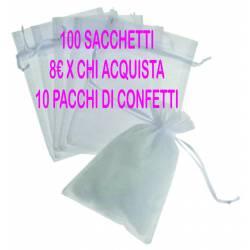 100 sacchetti organza 10hx8 cm colori disponibili