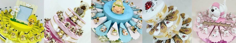 Animaletti portachiavi bomboniere su torta