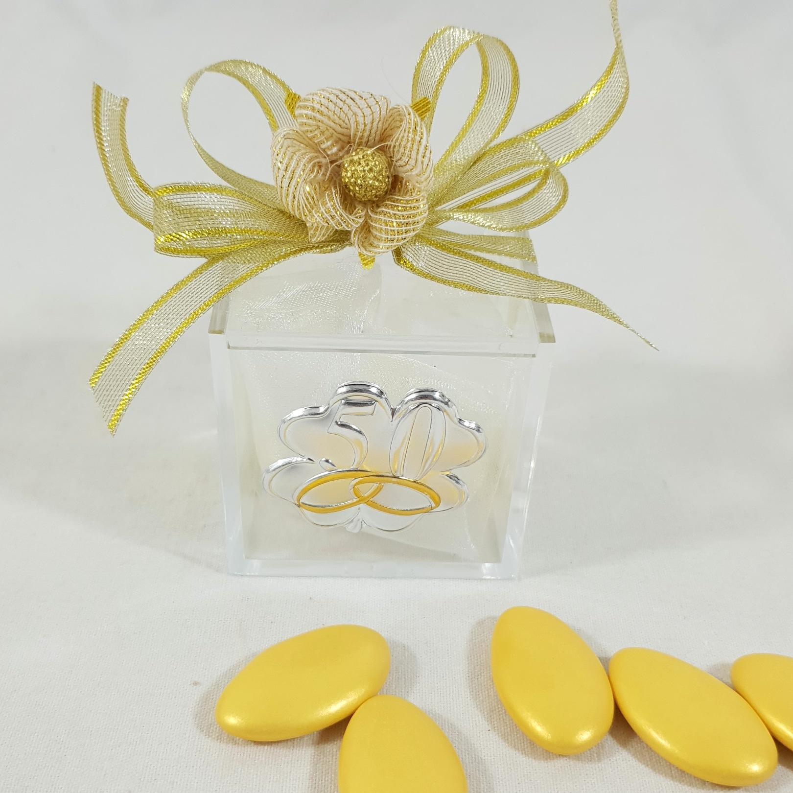 Kit Bomboniere Matrimonio Fai Da Te.Fai Da Te Bomboniera Cubo Plexiglass Nozze Oro 50 Anniversario